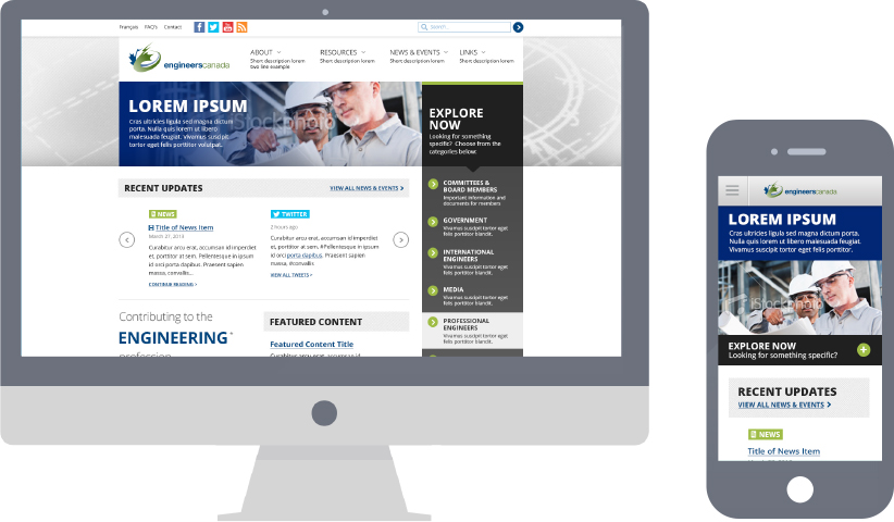 Image mockup of the Engineers Canada website on desktop and mobile